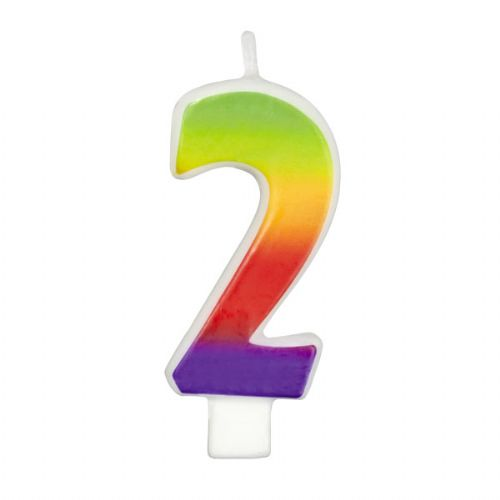 Rainbow-Colored Numeral #2 Candle